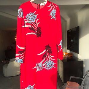 Designer red and floral dress